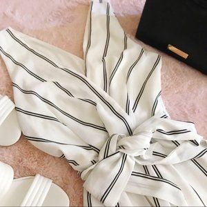 NWOT White Striped Tie Jumpsuit Size Small